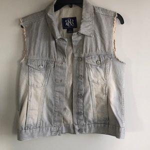 Women's striped white washed denim jean jacket